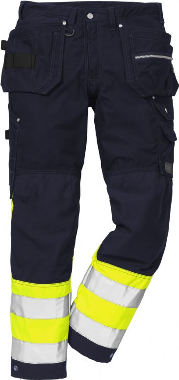 Fristads High Vis Craftsman Trousers CL 1 2093 NYC (Hi-Vis Yellow/Navy)